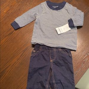 Baby boy long sleeve shirt and jeans